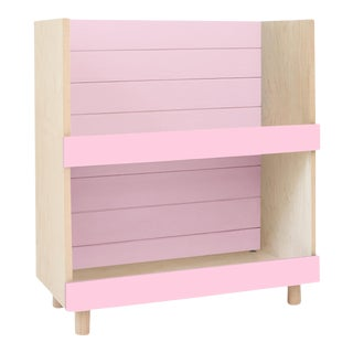 "Minimo Modern Kids 31"" Bookcase in Birch With Pink Finish For Sale"
