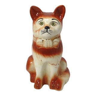 Antique Life Size Scottish Staffordshire Seated House Cat Figure For Sale