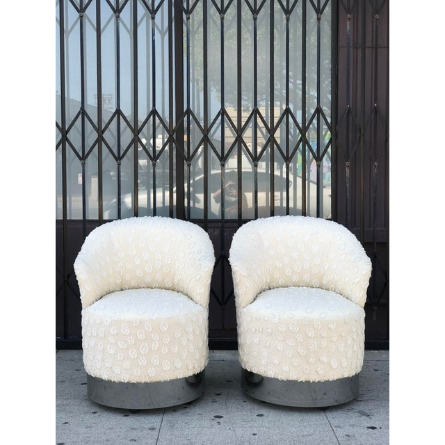 1970s Rolling Chairs With Chrome Base in the Manner of Milo Baughman For Sale - Image 5 of 13