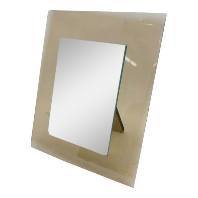 1970s Italian Vintage Cristal Art Heavy Glass Picture Frame For Sale