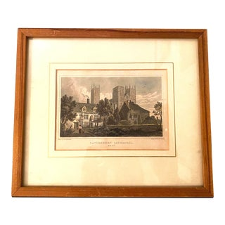 """Late 20th Century """"Canterbury Cathedral, Kent"""" Colored Lithograph, Framed For Sale"""