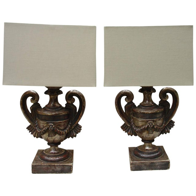 Pair of italian candlestick lamps with custom shades image 1 of 7