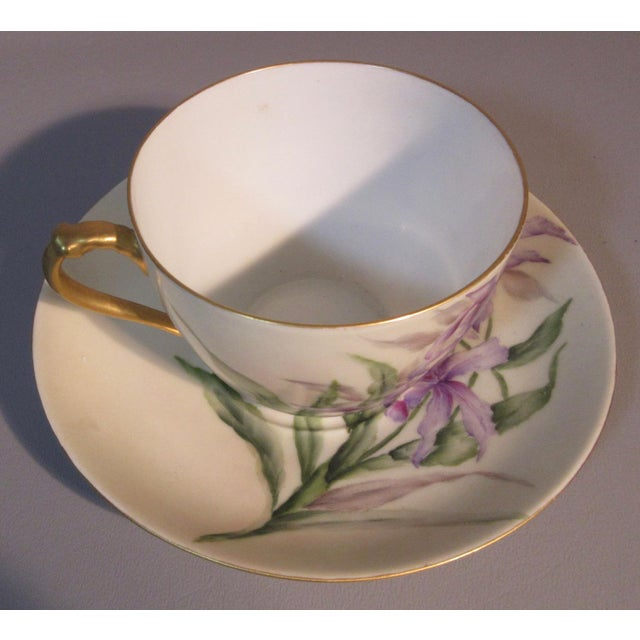 Haviland & Co. 1890s H & Co. Haviland Hand Painted Purple African Lilies Cup & Saucer For Sale - Image 4 of 5