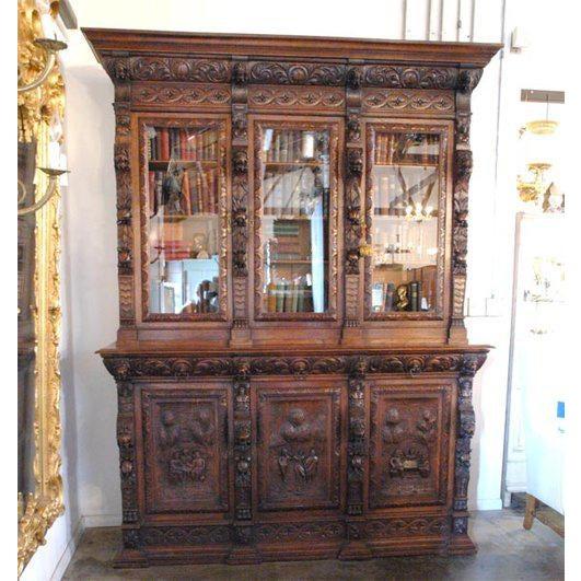 Large Carved Oak Six Door Bookcase For Sale - Image 5 of 5