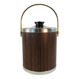 Vintage 1960 Faux Wood Grain Ice Bucket For Sale