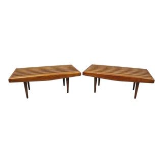 Vintage Mid Century Small Nelson Style Walnut Slat Bench Side Tables- a Pair For Sale