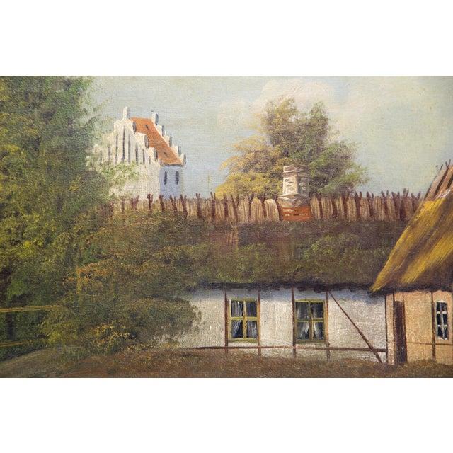 Cottage Swedish Landscape Oil on Canvas, C. 1900 For Sale - Image 3 of 10