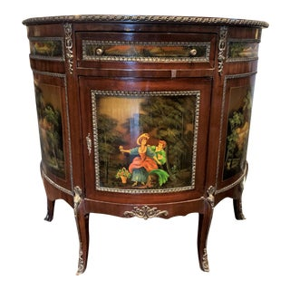 English Hand Painted Style Demi-Lune Cabinet With Brass Detail For Sale