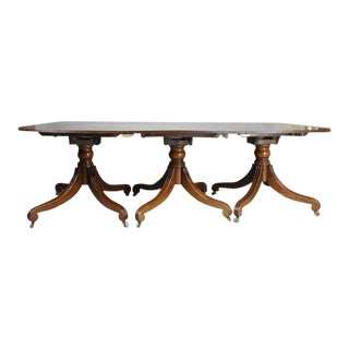 Regency Mahogany Three-Pedestal Dining Table For Sale