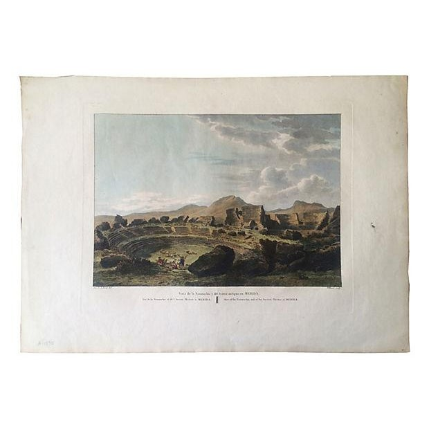Ancient Spanish Theater Ruins, Antique Color Engraving - Image 4 of 6