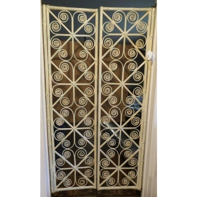 Vintage Peacock Curl Bamboo Swinging Doors / Entryway or Closet Doors - a Pair For Sale - Image 4 of 8