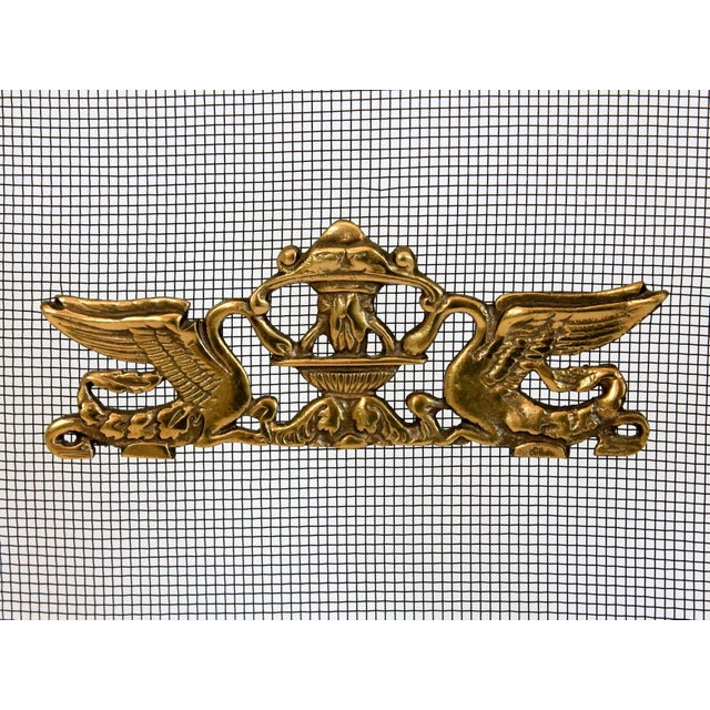 """Beautiful Asian-style brass fireplace screen. Marked """"Made in Japan"""".  Some age wear."""