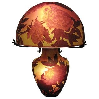 French Triple Overlaid Cameo Art Glass Table Lamp After Galle For Sale