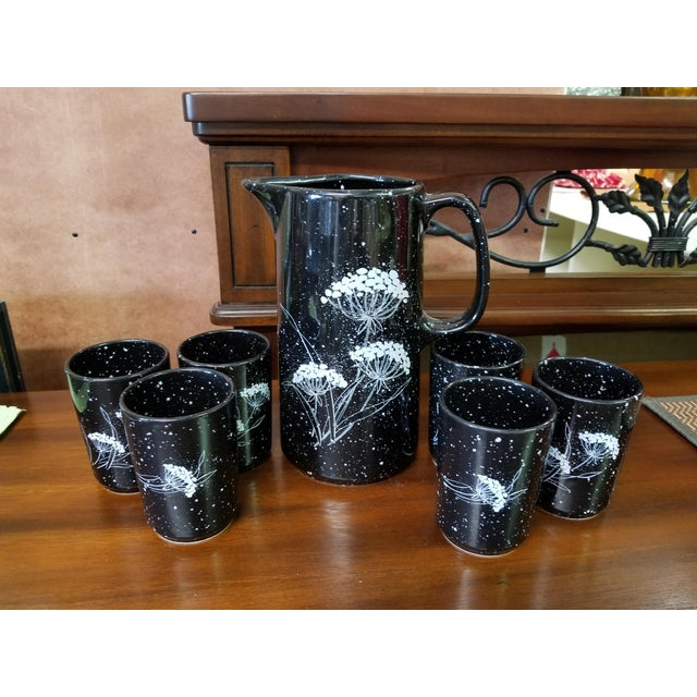 Ceramic 1970s Traditional Winterling W. Germany Ceramic Pitcher and Six Glasses - 7 Piece Set For Sale - Image 7 of 7