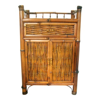 Vintage Oriental Bamboo Cane Storage Cabinet