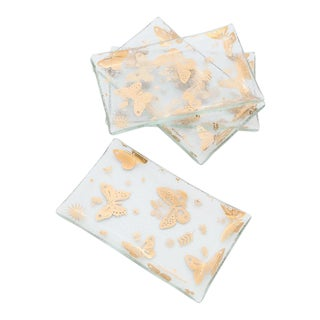Georges Briard 'Butterfly' Glass Trays - Set of 4