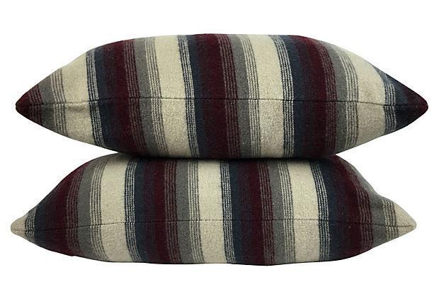 Repurposed Wool Blanket Lumbar Pillows A Pair Chairish