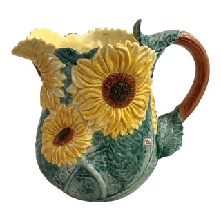 Large Vintage Hand Painted Fitz & Floyd Pitcher