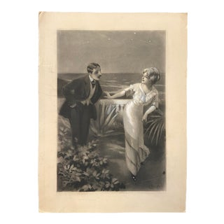 1900s Antique French Mixed-Media Grisaille Illustration of a Couple on a Terrace by Charles Atamian For Sale