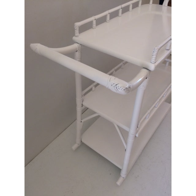 1970s Regency White Rattan Regency Bar Cart For Sale - Image 12 of 13