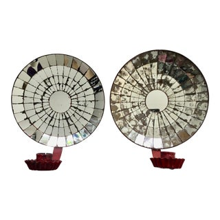 Near Pair of Wonderful Vintage Colonial Style Mirrored Tole Wall Sconces For Sale