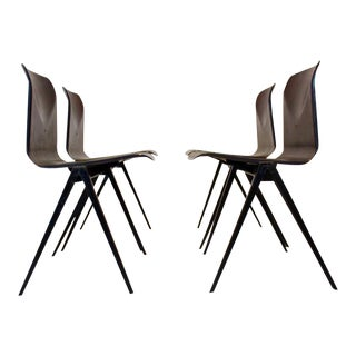 Wengé Stackable Pagholz Galvanitas S22 Industrial Chairs