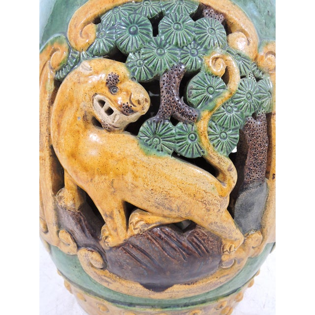 Antique Chinese Sancai Glazed Ceramic Garden / Drum Stool or Side Table (Lion, Camel & Panther) For Sale In Tampa - Image 6 of 8