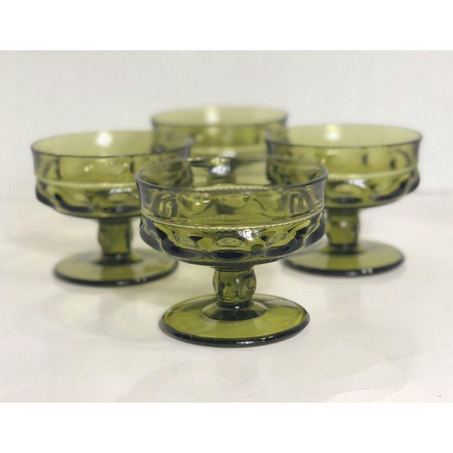 Vintage Verde Thumbprint Kings Crown Style Green Glasses - Set of 4 For Sale - Image 4 of 5