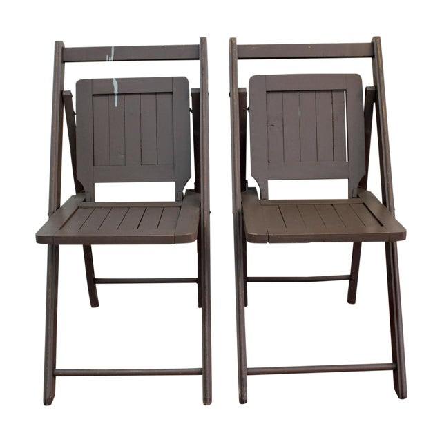 Antique Dark Taupe Painted Folding Chairs - Pair - Image 1 of 8