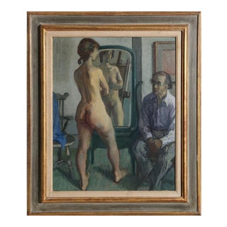 Moses Soyer, H.G. (Harry Gottlieb) with Standing Nude, ca, 1950 For Sale