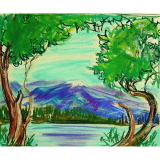 Lakeside Mountain Study Pastel Drawing For Sale