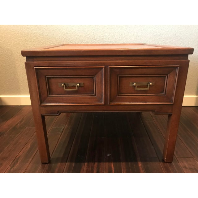 Hekman Walnut Asian Style Mid-Century Accent Table For Sale - Image 9 of 9