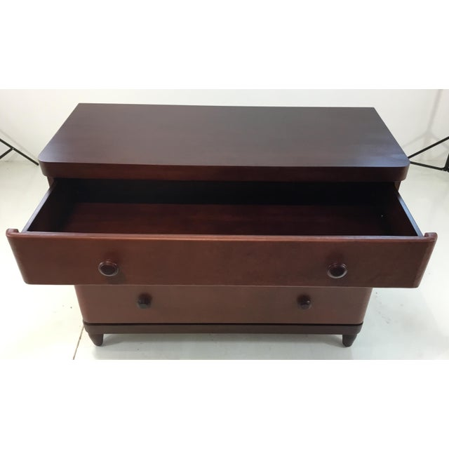Modern Modern Bungalow 5 Brown Leather and Wood Montclair Three Drawer Chest of Drawers For Sale - Image 3 of 8