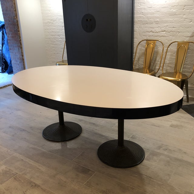 Contemporary ICF Blue & White Oval Table With Metal Base For Sale - Image 13 of 13