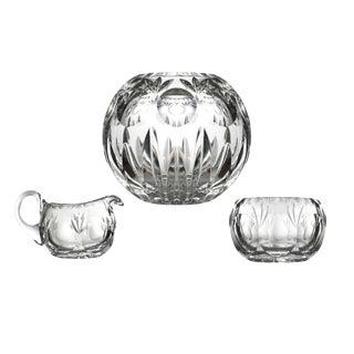 Lead Crystal Rose Bowl Votive Candle Holder Creamer Open Sugar Bowl Gorham Bamberg Crystal For Sale