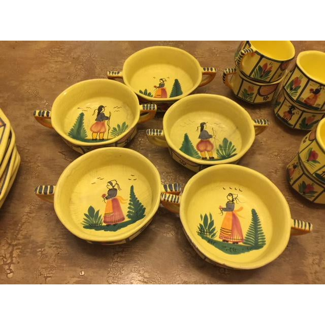 Yellow Quimper Pottery Dinnerware - 36 Pieces For Sale - Image 9 of 10