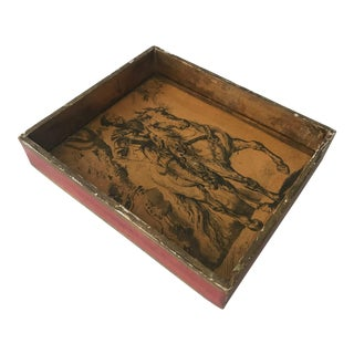 Vintage Florentine Mid Century Gold & Red Painted Paper Tray 16th Century Horse and Rider Detail For Sale