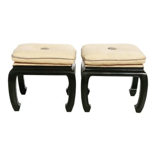 Late 20th Century Hollywood Regency Chinoiserie Style Footstools- a Pair For Sale