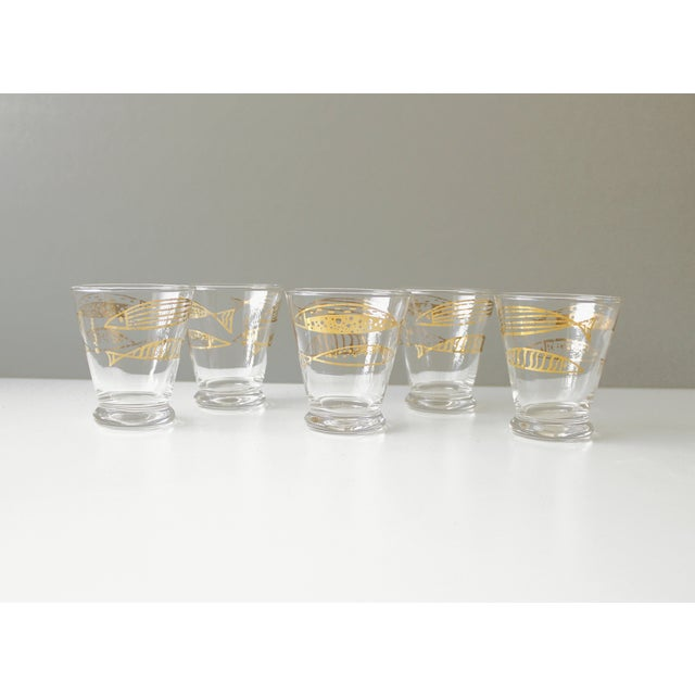 Mid-Century Fred Press Gold Fish Glasses - S/5 - Image 2 of 5