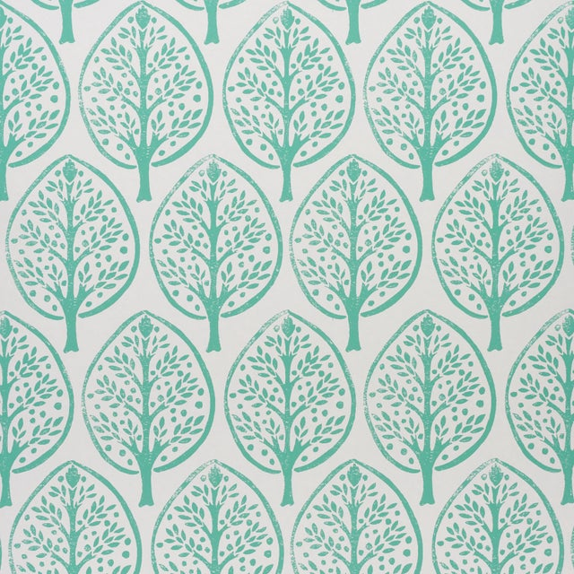 Schumachr x Molly Mahon Tree Wallpaper in Seaglass For Sale In New York - Image 6 of 6
