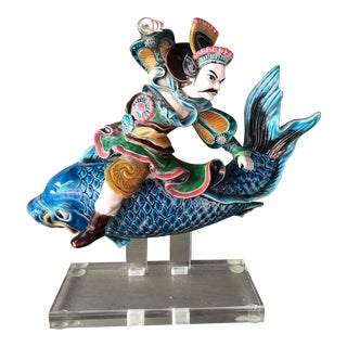 Chinese Warrior on Fish Roof Tile For Sale