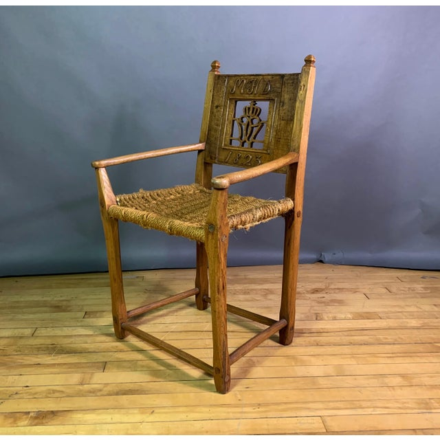 Beech 1823 Danish Carved Pine and Rope Armchair, Crowned Monogram For Sale - Image 7 of 12