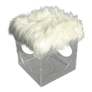 Contemporary White Faux Mangolian Fur & Lucite Stool / Foot Ottoman