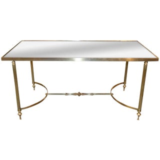 Midcentury Directoire Brass and Mirrored Top Coffee Table For Sale
