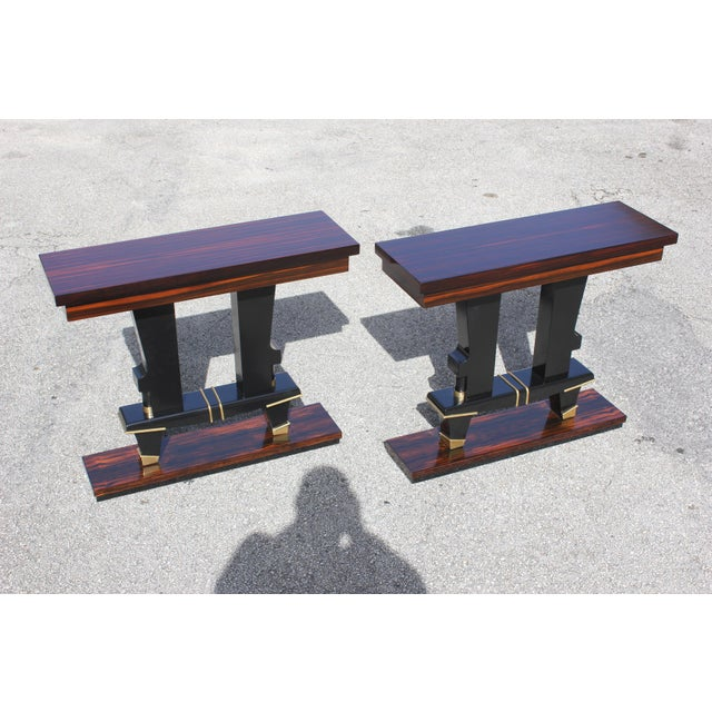 Gold Classic Pair of French Art Deco Exotic Macassar Ebony Console Tables, Circa 1940s For Sale - Image 8 of 13
