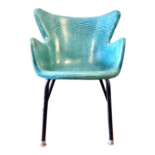 Vintage Mid Century Lawrence Peabody Fiberglass Wingback Armchair in Green 1960s For Sale