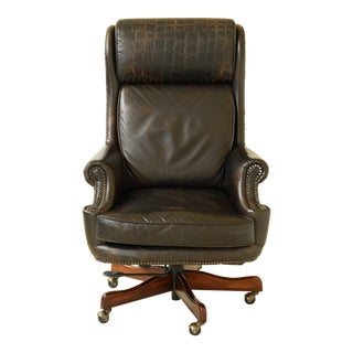 Councill Craftsmen Dark Brown Leather Executive Desk Chair For Sale