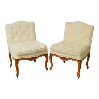 French Louis XV Style Custom Pair of Vintage Slipper Chairs For Sale