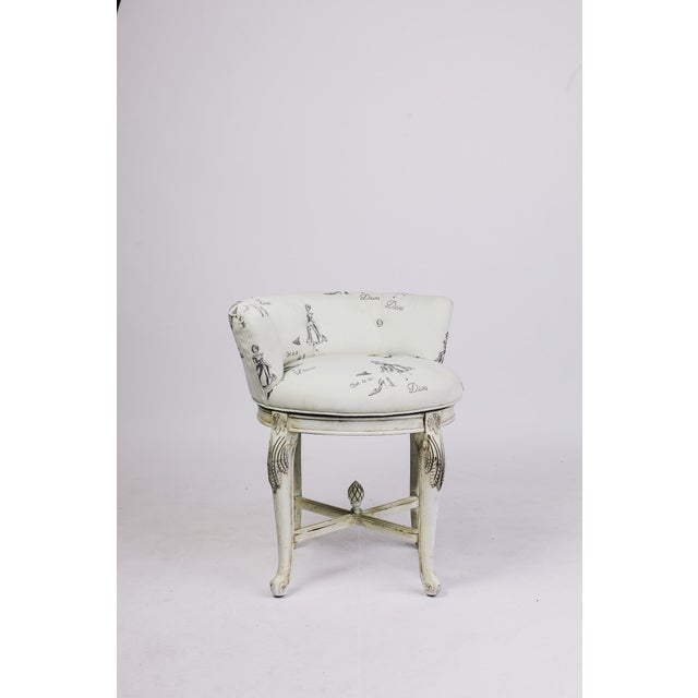 Traditional Vanity Chair in Diva Print Fabric For Sale - Image 3 of 5