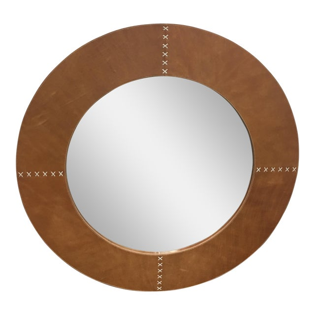 Jamie Young Round Cross Stitch Wall Mirror - Image 1 of 8